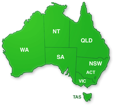 Map of Australia from which users can select the state or territory in which they want to browse hospitals.