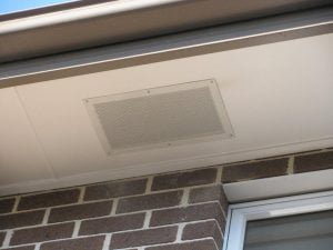 Eave vent installed in eaves